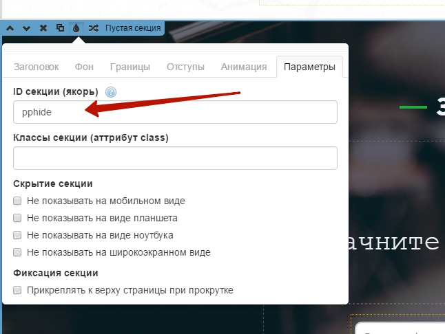 Настройка ID секции platformlp